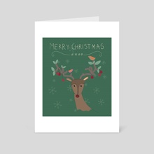 Colorful Merry Christmas raindeer for holiday illustration. - Art Card by Acharaporn Kamornboonyarush