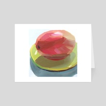 Mango on Green Plate - Art Card by Yuri Tayshete