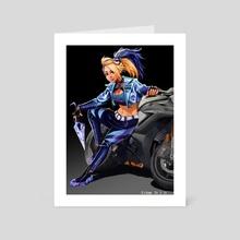 Akali with her bike - Art Card by azamuddin mizan